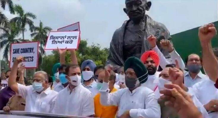 Farmers Protest- Rahul Gandhi demonstrated for farmers outside Parliament against agriculture law