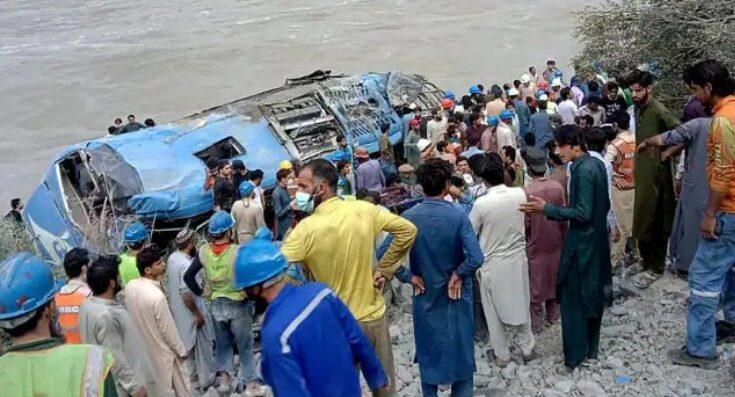 Pakistan Bus Blast Khyber Pakhtunkhwa A bomb blast in a bus in Khyber Pakhtunkhwa, Pakistan, kills 13 people including 9 Chinese engineers