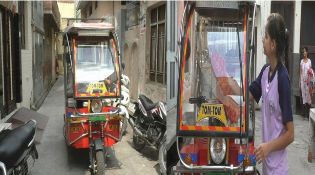 Ritu Verma, a young girl, is raising an auto rickshaw in the state town of Malerkotla