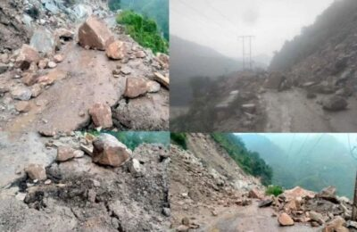 Himachal Pradesh Traffic on Chandigarh-Manali Highway stopped for three hours due to landslide