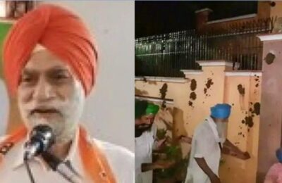 Farmers angry over BJP leader Harinder Kahlon, throw cow dung at BJP leader's house