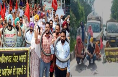 In Patiala yesterday, teachers staged a protest against the Punjab government by putting tires in their throats
