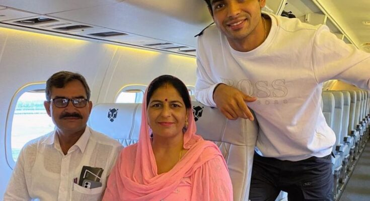 Neeraj Chopra takes his parents on 'air travel' for the first time